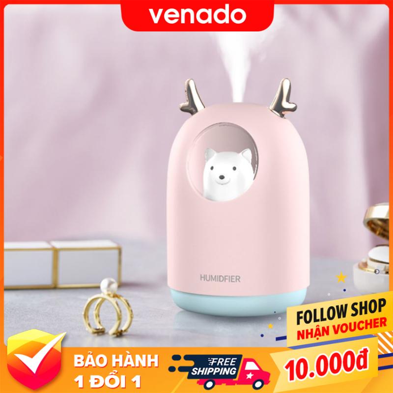 Máy phun sương tạo ẩm khuếch tán tinh dầu hình Gấu 300ml - Venado có thể dùng trên ô tô hoặc ở nhà, tích hợp đèn led làm đèn ngủ