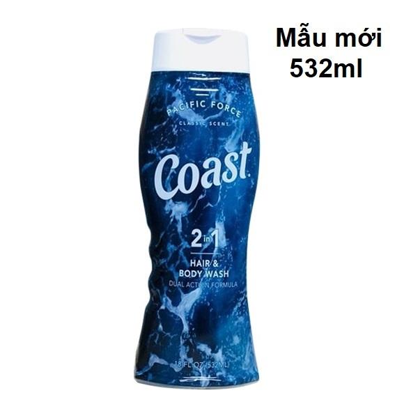 [Siêu Rẻ] Sữa tắm gội nam COAST Mỹ 532ml - 2 trong 1 dầu gội sữa tắm sạch gàu khử mùi USA hair body wash shower gel nhập khẩu