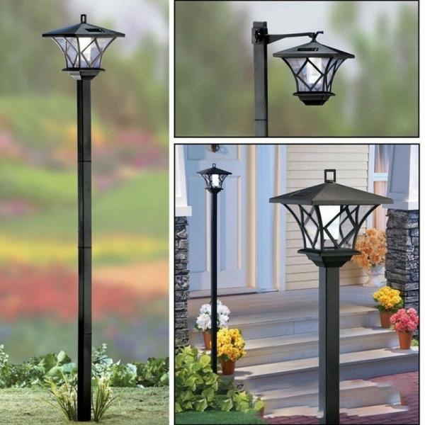 Đèn LED Sân Vườn Truyền Thống Chạy Bằng Năng Lượng Mặt Trời 1.5M, Đèn Lồng Cột Đèn Trang Trí