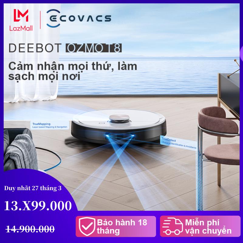 Robot hút bụi lau nhà thông minh Ecovacs Deebot OZMO T8 ,TrueDetect 3D,- bảo hành chính hãng 18 tháng - Lực hút max 1500Pa - Bản quốc tế
