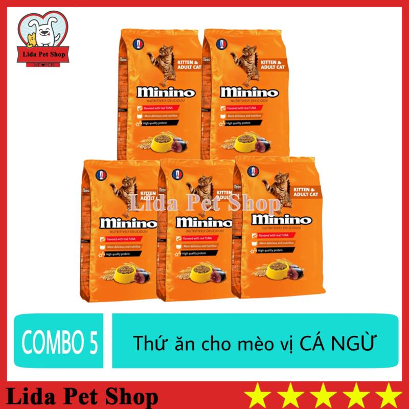[Lấy mã giảm thêm 30%]HN- (COMBO 5) Thức ăn vị cá ngừ dành cho mèo mọi lứa tuổi - thức ăn cho mèo minino 480g - Lida Pet Shop