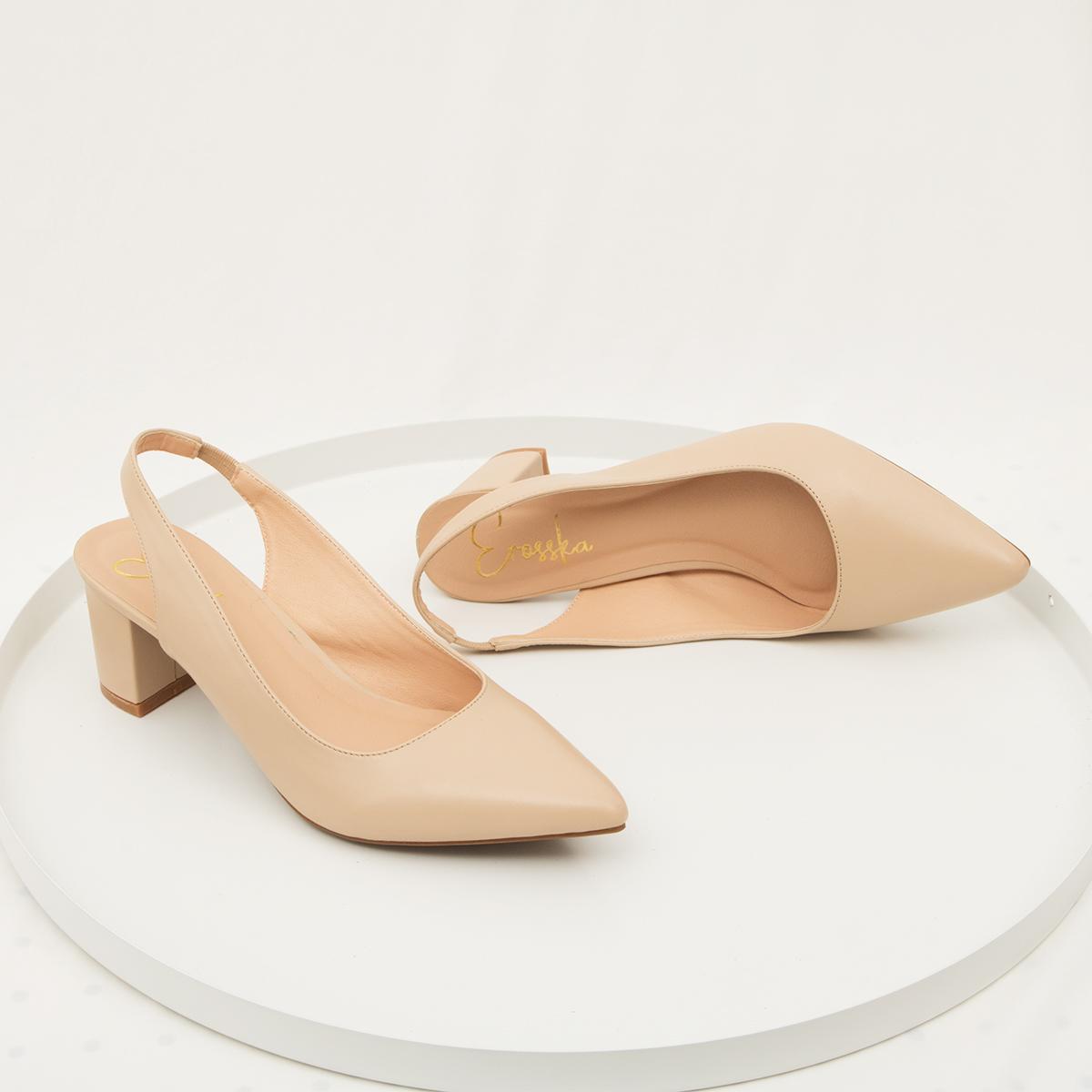 Giày nữ, giày cao gót slingback hở gót, bít mũi thời trang nữ kiểu dáng basic _ EH015 (WH)