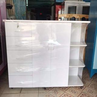 Tủ nhựa Trẻ em người lớn, 2 cánh, 5 ngăn kéo, 3 ô thoáng, cao 125 x rộng 145 x sâu 48 (cm), chất liệu nhựa Đài Loan 2 lớp - KHÔNG THẤM NƯỚC, KHÔNG CONG VÊNH, KHÔNG MỐI MỌT thumbnail