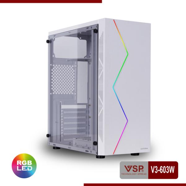 Giá Case Máy Tính - Vỏ Nguồn Máy Tính Case VSP V3-603W (Màu Trắng)  - V3-603W