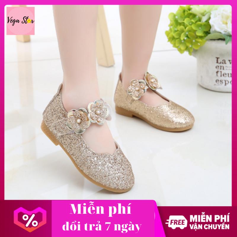 Giá bán Giày nữ đi học cho bé / giày sandal nữ xinh xắn cho bé, giày búp bê cho bé gái  / giày đế bằng có gắn hoa xinh phong cách hàn quốc