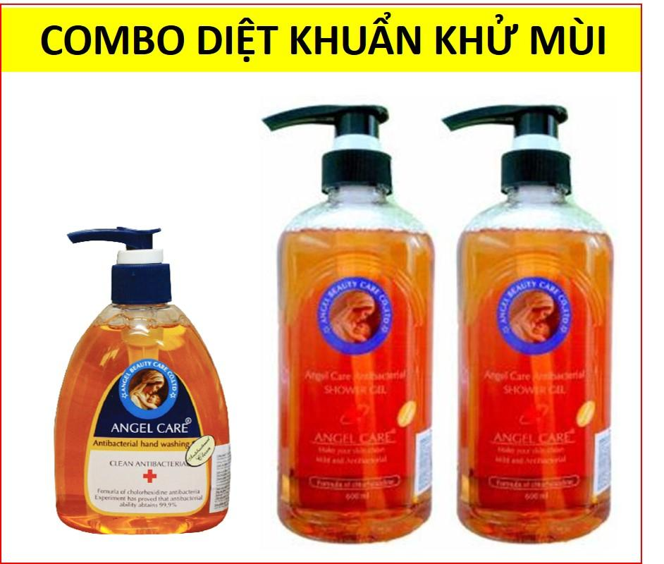 Combo 2 sữa tắm diệt khuẩn khử mùi 600ml + 1 gel rửa tay diệt khuẩn khử mùi Angel Care 300ml nhập khẩu