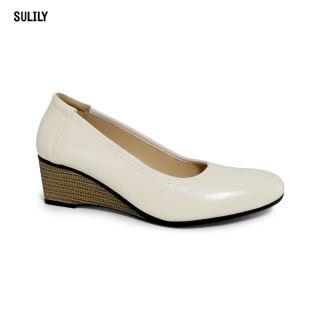 Giày Búp Bê Đế Xuồng Da Thật AD by Sulily màu trắng mang êm chân