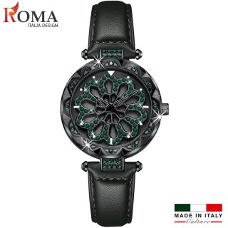 (Nghệ thuật) Đồng hồ nữ ROMA ITALIA XOAY 360 Dây Da Cao Cấp thumbnail