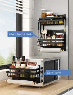 Kệ Giá treo gia vị đồ ăn khô chai lọ bên hong tủ lạnh - Kệ hít nam châm bên cạnh tủ lạnh thumbnail