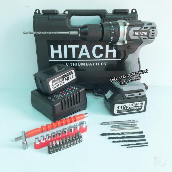 Máy khoan pin Hitachi 118V Động cơ KHÔNG CHỔI THAN Siêu mạnh mẽ KÈM 2 PIN TẶNG 30 CHI TIẾT