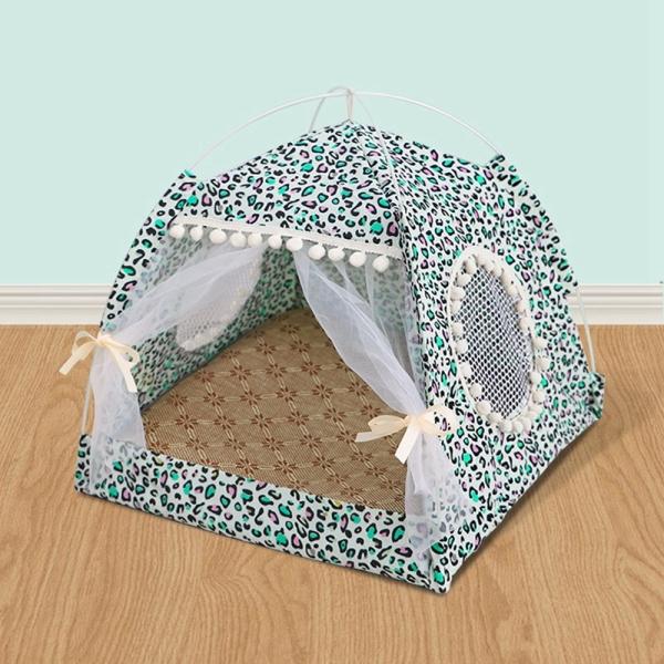 HULUSHA Trong Nhà Ngoài Trời Có Đệm Có Thể Tháo Rời, Cho Chó Nhỏ Có Thảm Lều Lưới Cho Thú Cưng Chó Con Nhà Ngủ Cho Mèo Lồng Chó Giường Cho Thú Cưng