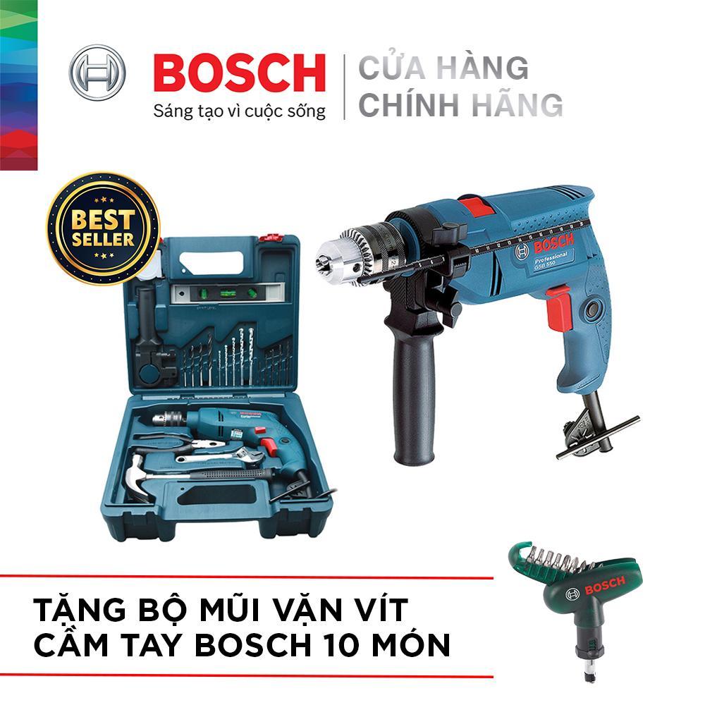 Bộ máy khoan động lực Bosch GSB 550 MP SET 19 chi tiết + Bộ mũi vặn vít cầm tay Bosch 10 món
