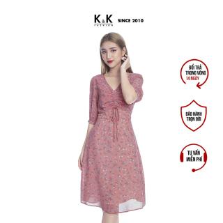 Váy Đầm Xòe K&K Fashion KK98-31 Họa Tiết Hoa Nhí Chất Vải Voan Hàn thumbnail