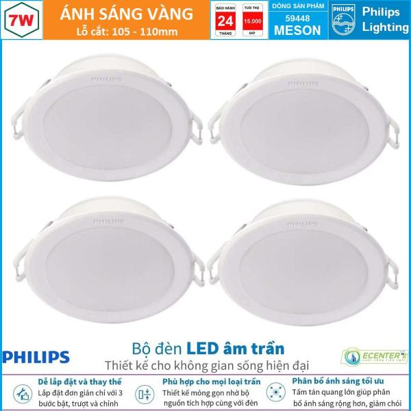 ( Bộ 4 ) Đèn Led Âm Trần 7W-9W-13W Philips Downlight 59448/59448/59464 MESON D105/D105/D125  ( Ánh Sáng Trắng  & Trung Tính & Vàng )