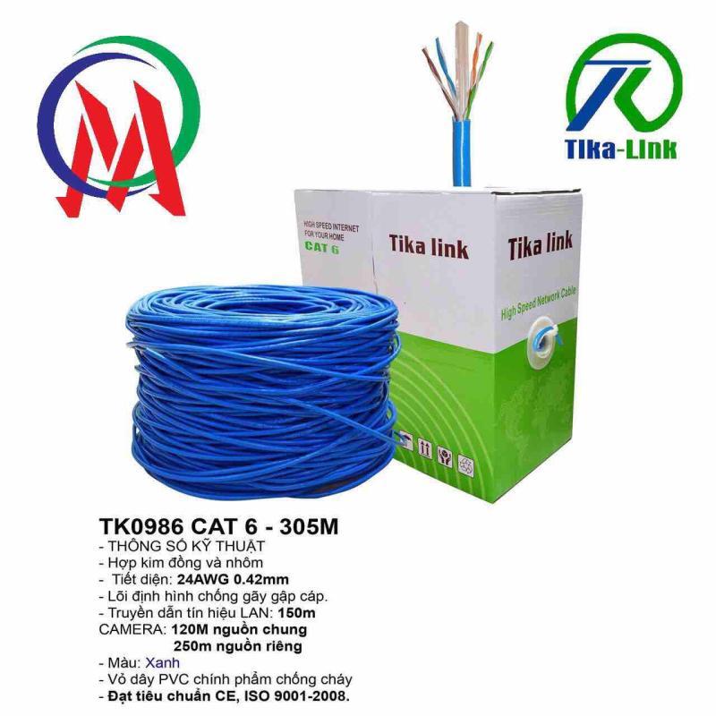 Bảng giá Thùng dây mạng cat6 Tika Link 0986 full 305m, tiết diện 0.42 Phong Vũ