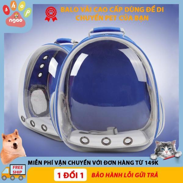 Balo vận chuyển chó mèo, balo phi hành gia nhựa trong suốt toàn phần ( Màu xanh)