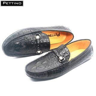 Giày Lười Nam, giày Da Bò Thật Nguyên Tấm, Dập Vân Cá Sấu, khuy ngang Họa Tiết PETTINO - LLPL08 (tặng tất màu ngẫu nhiên đen hoặc xám) thumbnail