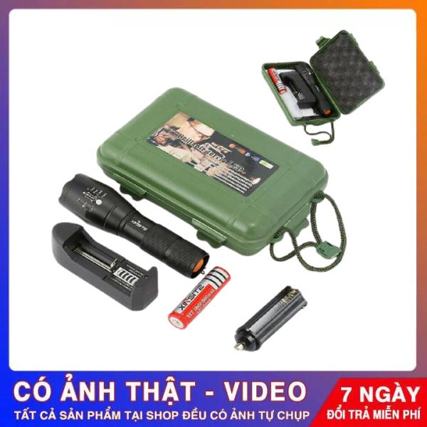 Đèn Pin Siêu Sáng Police XML-T6 ( Made In Japan ) Có Ron Chống Nước 5 Chế Độ Sáng Tặng Bộ Sạc + Pin Sạc + Hộp Nhựa Chống Sốc – Bảo Hành 12 Tháng 1 Đổi 1
