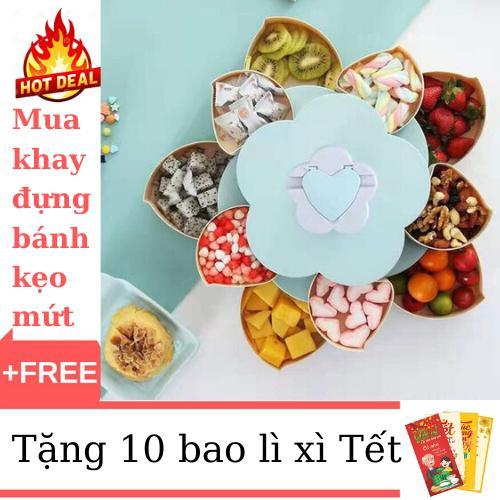 Khay Đựng Bánh Mứt Kẹo 2 Tầng 10 Cánh Siêu Tiện Dụng+Tặng Kèm 10 Bao Lì Xì Với Giá Sốc