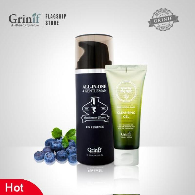 Bộ sản phẩm dưỡng trắng, mịn da, giảm đen sạm cho Nam giới Grinif All In One 4 Gentleman 120ml + Grinif TeaTree Cleansing Gel 100ml