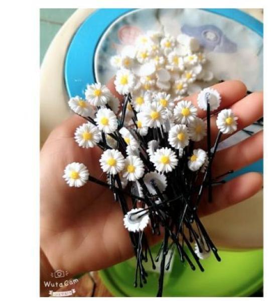 5 Kẹp tóc hoa cúc bông nhỏ 13mm