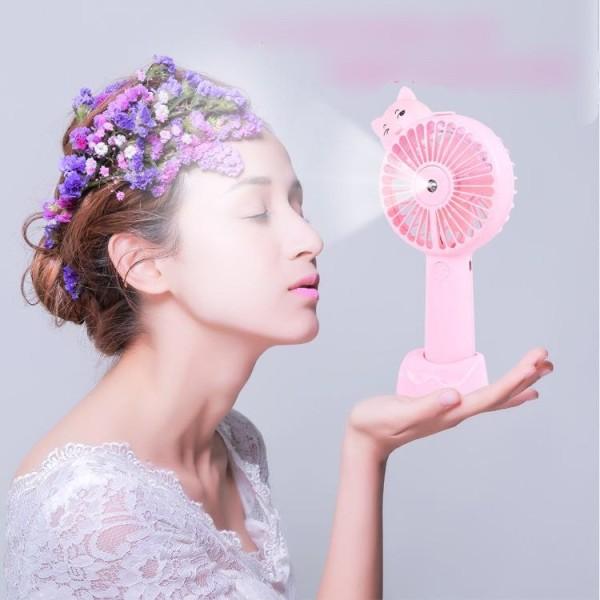 [BH 3 tháng] Quạt phun sương có đèn đa năng 7 chế độ, cầm tay có đế làm giá đỡ điện thoại - Máy phun sương tạo ẩm làm mát
