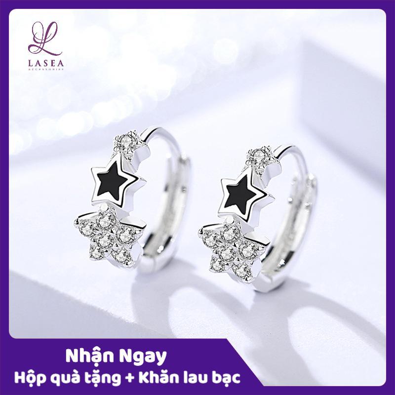 Bông tai nữ trang sức bạc Ý S925 Lasea - Hoa tai đính đá hình ngôi sao E1121