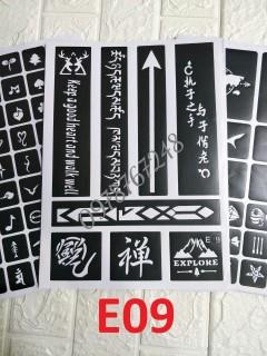 KHUÔN XĂM HÌNH XĂM TẠM THỜI E9 KHỔ A4 không kèm mực thumbnail