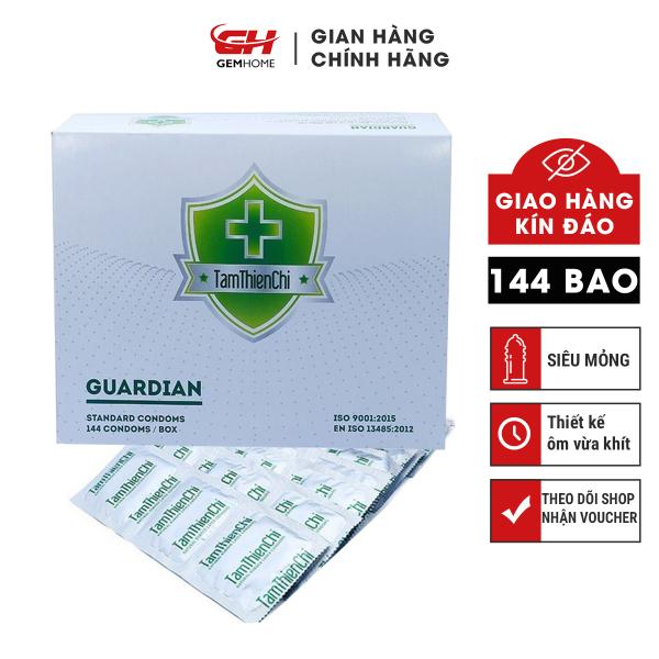 Bao Cao Su Tâm Thiện Chí (hộp lớn 144 bao) Guardian, nhiều gel bôi trơn, bcs siêu mỏng tận hưởng trọn cảm giác GEMHOME nhập khẩu