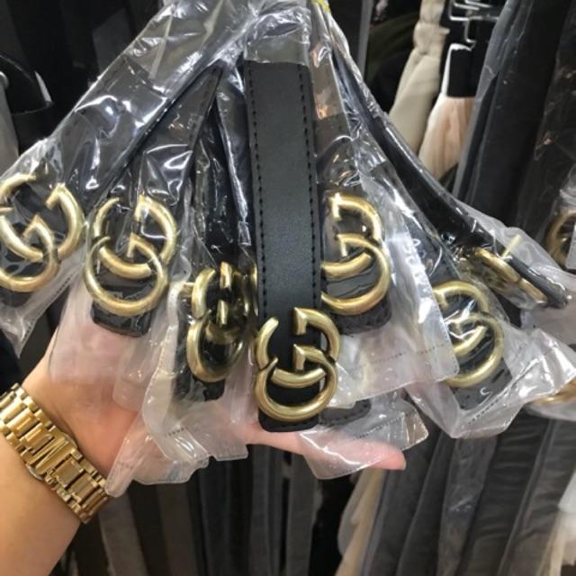 Sale Thắt Lưng Dây Nịt Nữ Da Cao Cấp Mặt Hợp Kim Gg Mạ Vàng Sang Trọng Dây May 2 Viền Cưc đep By Duman Shop.