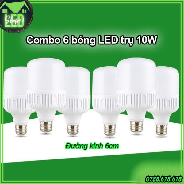 [HCM]Combo 6 bóng đèn trụ tròn 10W - ánh sáng trắng (LED siêu sáng - đường kính 6cm - bảo hành 12 tháng)