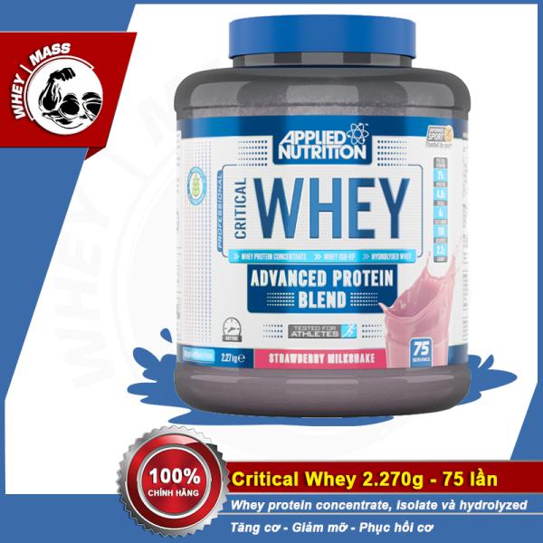 Sữa Dinh Dương Tăng Cơ Nuôi Cơ Phục Hồi Cơ Bắp Applied Nutrition Critical Whey 75 Lần Dùng 2270g Từ Anh (75 serving) giá rẻ