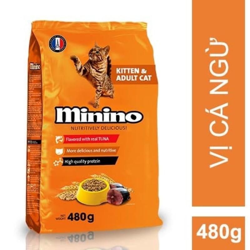 Thức ăn hạt mèo Minino 480gr (vị Cá Ngừ - Tuna flavor)