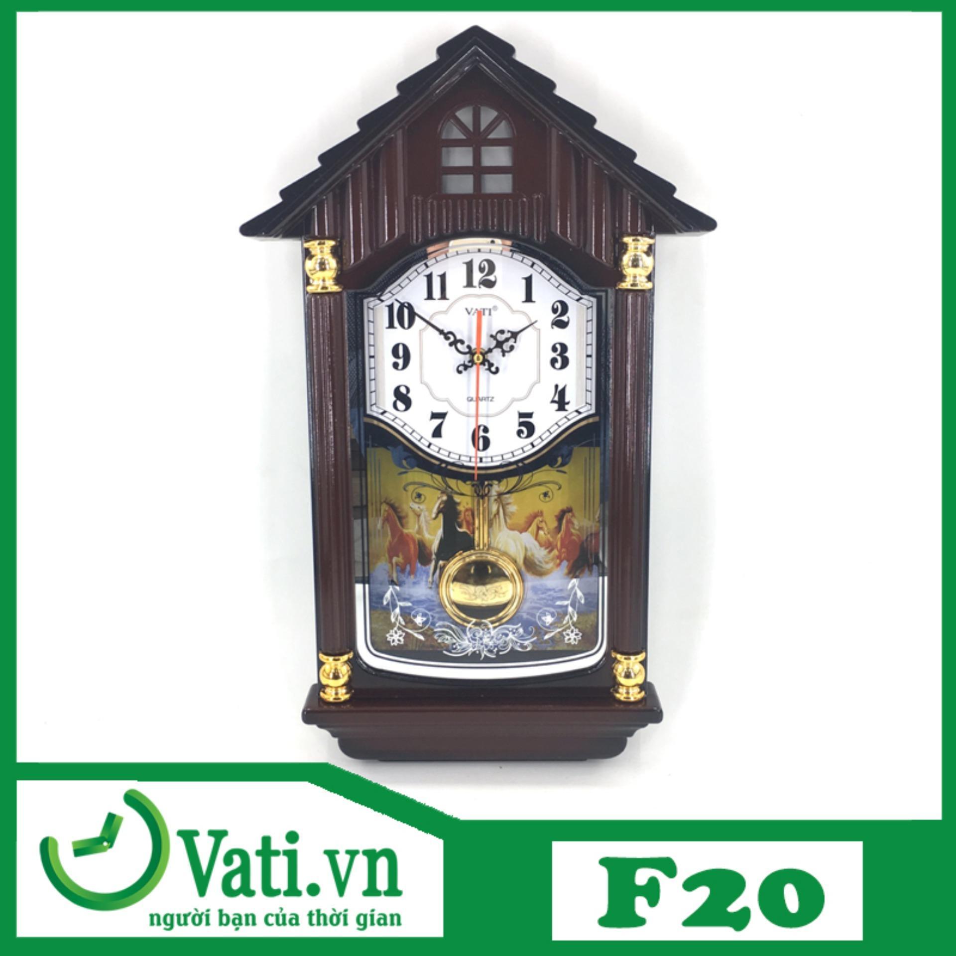 [ Vati] Đồng hồ treo tường quả lắc lớn F20 - Lắc đều tiết kiệm pin