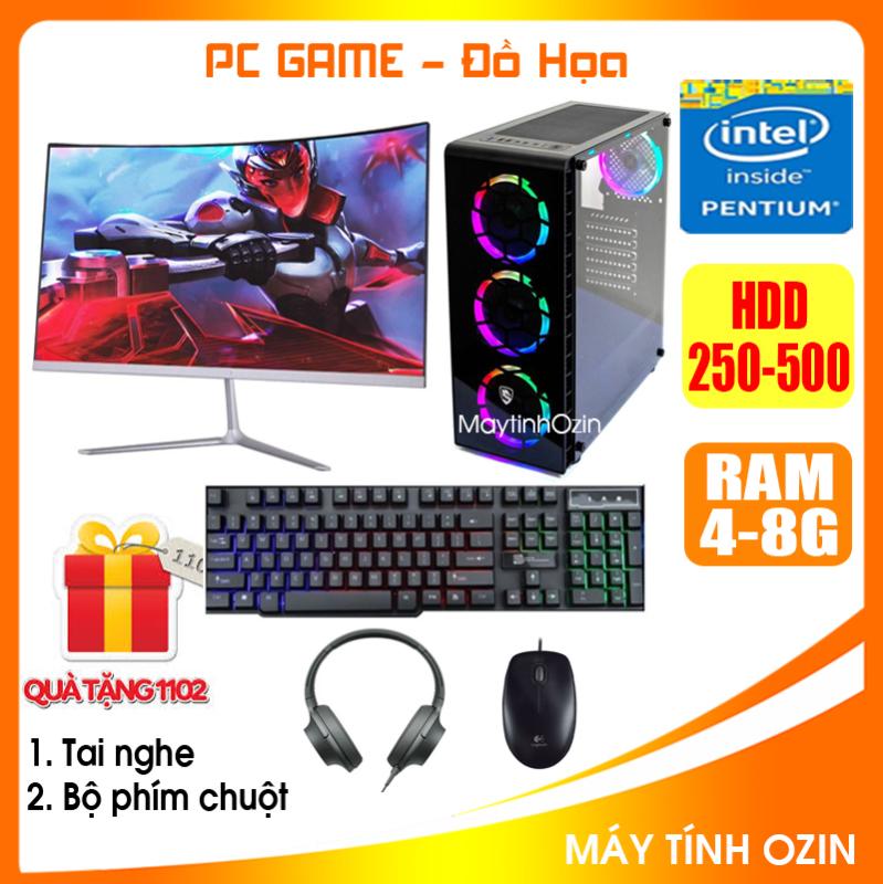 Bảng giá Bộ case PC Game LED CPU Dual Core E7/8xxx / Pentium G2010 / Ram 4GB-8GB / HDD 250GB - SSD 120GB / VGA 1GB - 2GB chơi PUBG mobile, PUBG lite, LOL, CF đột kích, Fifa3, Cs Go, AOE ... + Màn hình + [QÙA TẶNG: Bộ phím chuột game + tai nghe] - OZ Phong Vũ