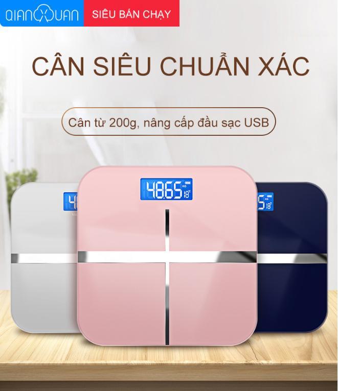 Smart Store Cân sức khỏe điện tử,Cân trọng lượng, đo nhiệt độ phòng Sạc USB cao cấp