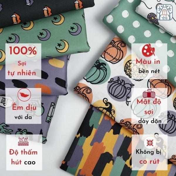 Vải cotton 100% tự nhiên🍒Chuanshui🍒khổ vải 150cm, halloween pastel - vải đẹp handmade, quilt, may quần áo, túi,cao cấp