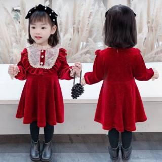 VÁY BÉ GÁI ❣️ Váy nhung ren đính cúc cực xinh - VBG-Nhung-ren-new