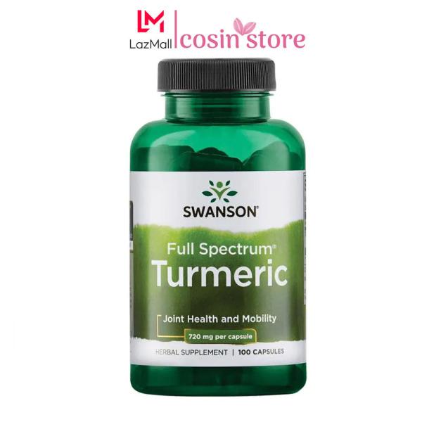 Viên Uống Swanson Turmeric 720mg Tinh Chất Nghệ Vàng 100 Viên Của Mỹ USA - 720 mg cao cấp