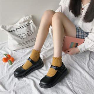 WAI306 Mary Jane Giày Nữ Hoài Cổ Mềm Nhỏ Cho Nữ Giày Da Nữ Nhật Bản Giày Có Dây Buộc Đơn Đế Bằng Đế Dày Đồng Phục Anh Giày Jk