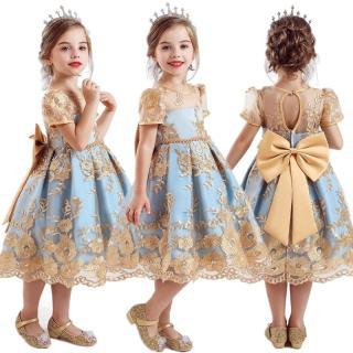 Nileafes đầm Cho Bé Gái Đầm Công Chúa Thêu Ren Hoa Thương Hiệu Mới Tay áo Ngắn Dài đến đầu Gối Dành Cho Bé Gái Từ 0-10 Tuổi