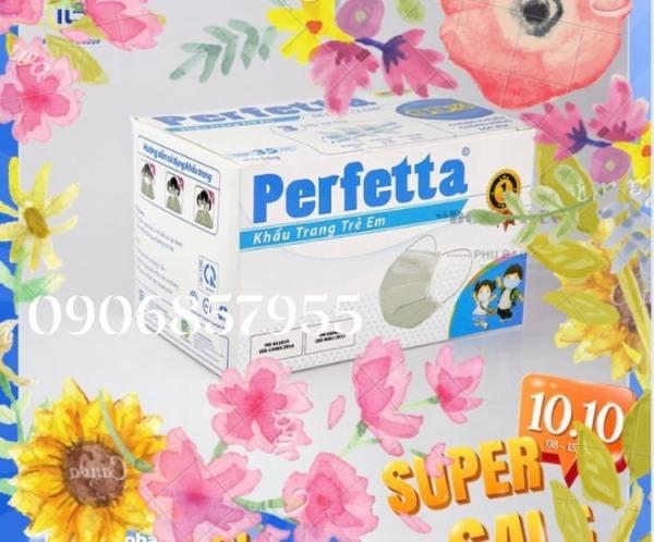 Khẩu trang y tế trẻ em cao cấp Perfetta 3 lớp - Hộp 35 cái màu trắng cao cấp