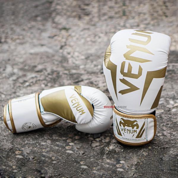 Găng tay Boxing Venum Elite - White Gold