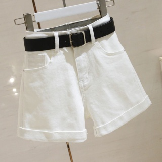 White high waisted denim shorts with women s curly edge in summer 2020 new Korean version shows the trend of thin wide leg A-line hot pants thumbnail