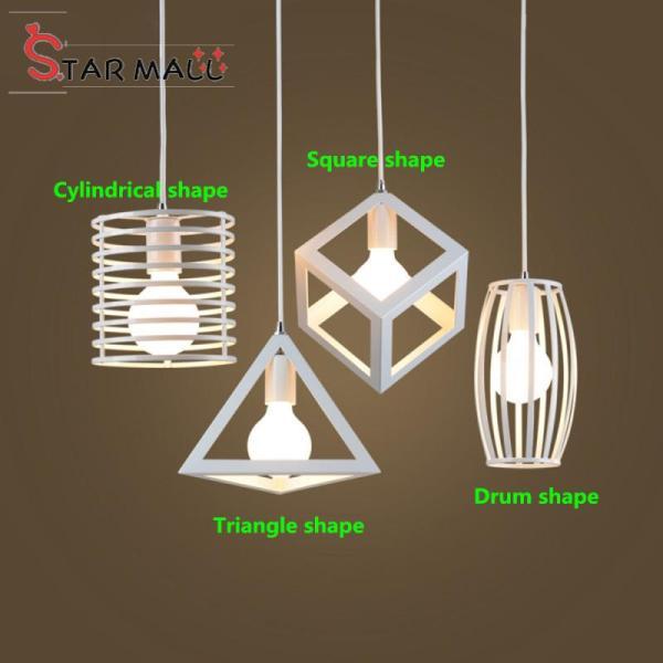 Star Mall Geometrical Lamp Shades White Iron Art Lampshade For Restaurant Lighting E27 110-220V (No Bulb)