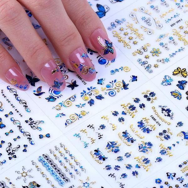 Combo 10 tấm decal dán móng (khoảng 30 hình/tấm) màu xanh nhũ siêu xinh-sticker dán móng giá rẻ