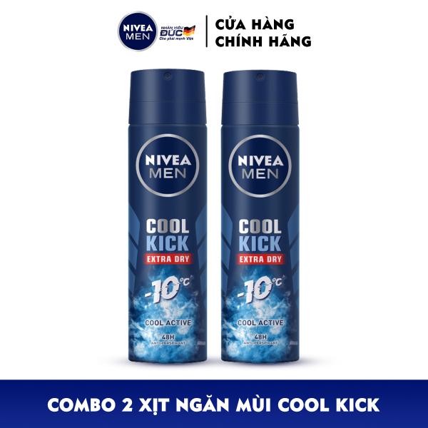 Combo 2 Xịt ngăn mùi NIVEA MEN Cool Kick Mát Lạnh - Thơm năng động (150ml) - 82883 giá rẻ
