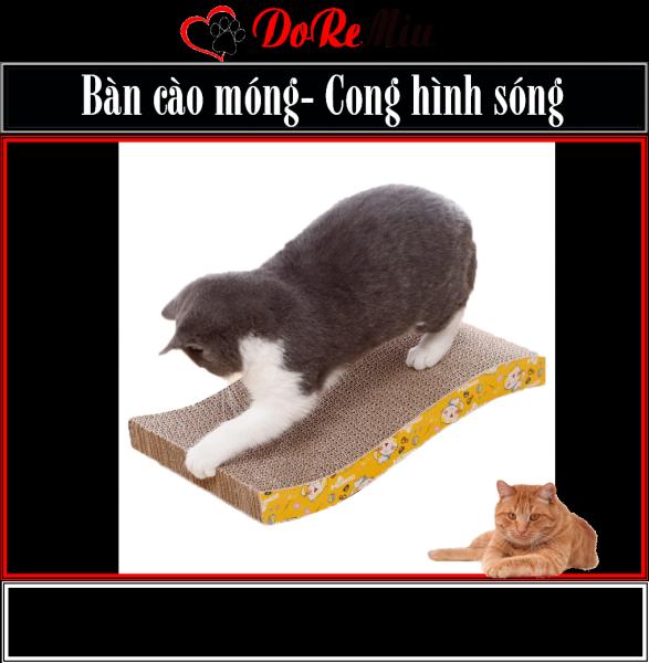 Doremiu- Bàn cào móng cho mèo - Loại cong hình gợn sóng tặng gói catnip