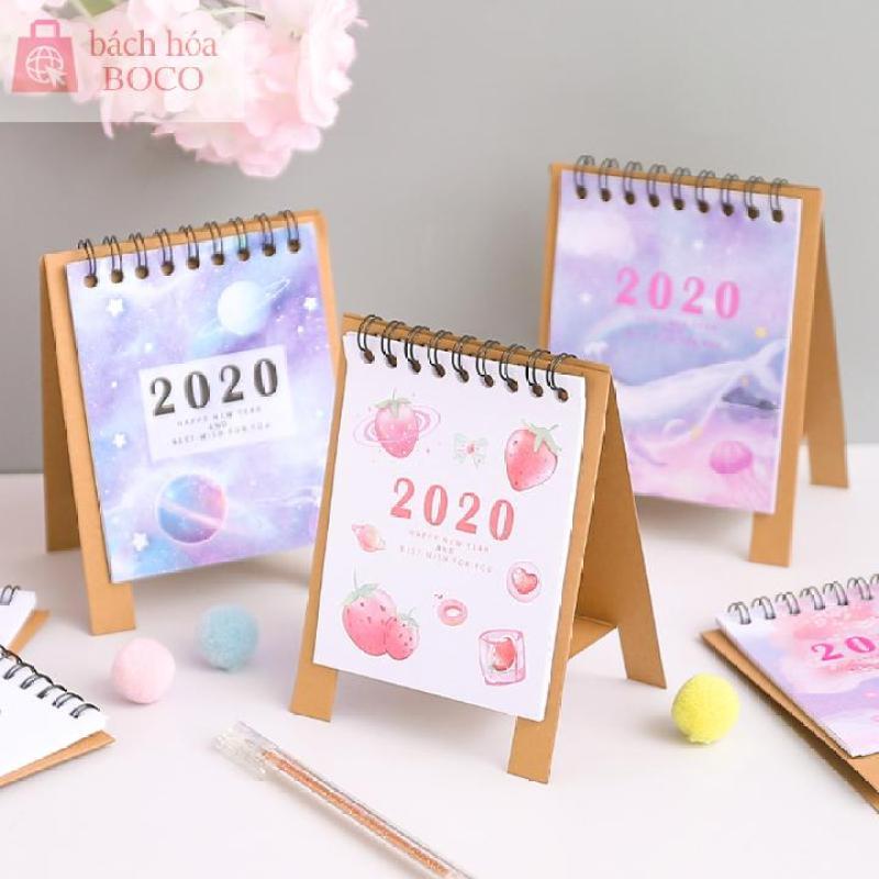 Lịch bàn văn phòng 2020 kiêm giấy note ghi chú họa tiết xinh xắn