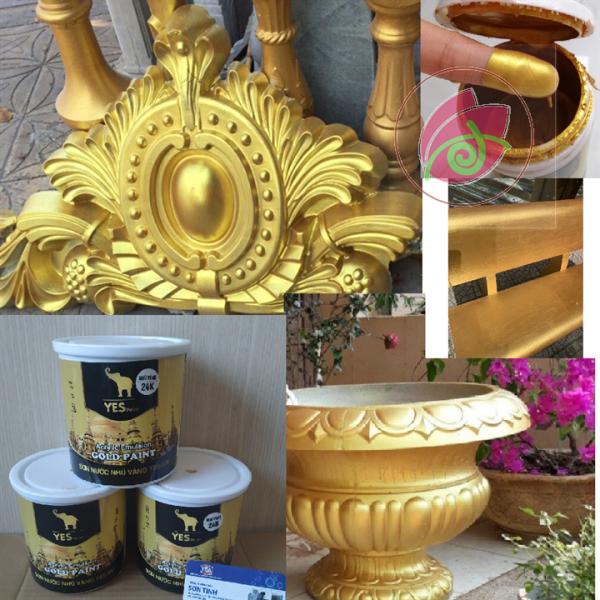 Sơn nước nhũ vàng  Yes Paint màu vàng 24K HOẶC 18K 850gr và 200gr